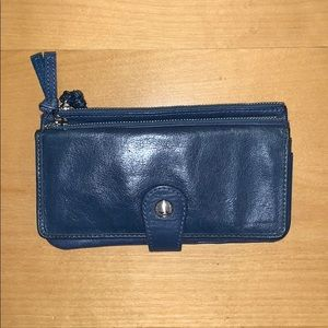Fossil medium wallet with zipper and snap button